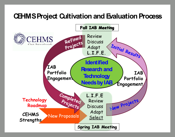 CEHMS project cultivation and evaluation process in collaboration with IAB members